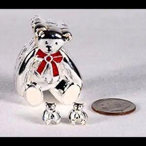 NEW Avon sterling silver teddy bear earrings/box